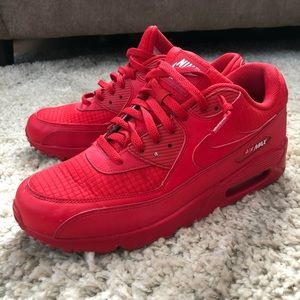 All red Nike AirMax 90